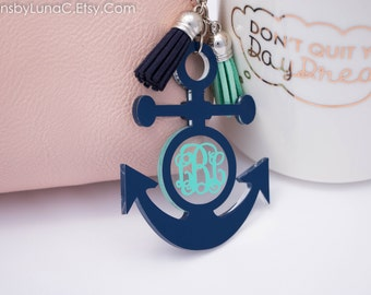 anchor keychain - monogram tassel keychain - plastic key tags - nautical keychain - Personalized Keychain - custom keychain - cute keychain