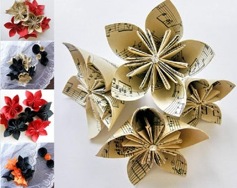 Sheet Music Flower, 10 Origami Paper Flowers, Wedding Bouquet, Table Decoration, Wedding petals, Holiday Décor,Origami Kusudama Paper Flower