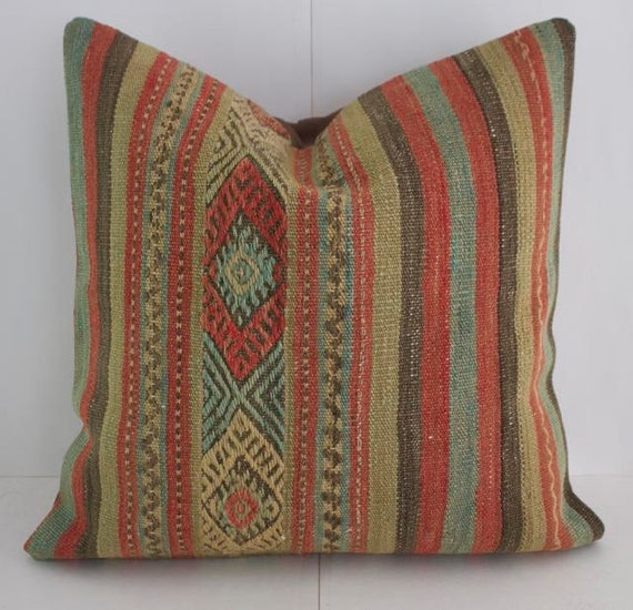 Throw Pillows King Size Bed : Colorful Striped Kilim Throw Pillow 16X16 Decorative Pillow