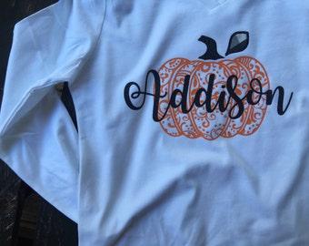 Decorative pumkin and Name kids long sleeve tshirt