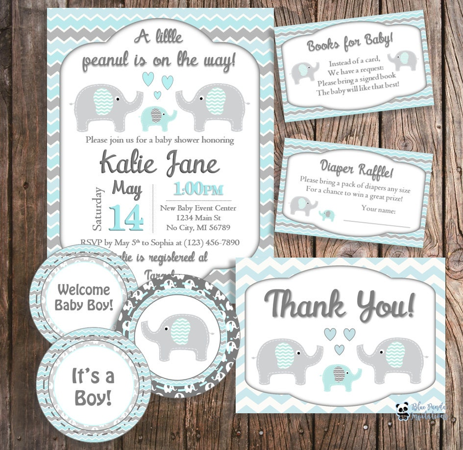 diy baby shower package elephant baby shower blue elephant