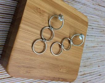 Sterling Silver Hoop linked Dangle Earrings, Studs, polished finish, lite weight, Handmande in Peru