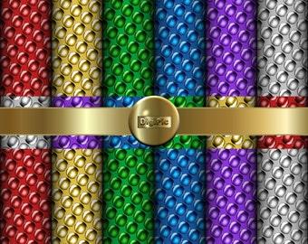 "SALE COMMERCIAL Use OK 6 Digital Metallic Balls Scrapbook Papers, 12""x12"" 300Dpi Instant Download"