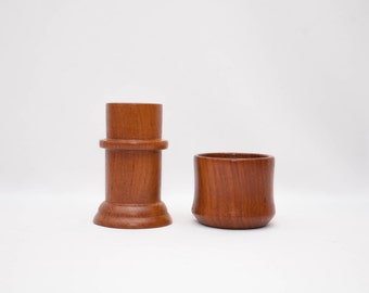 Set of 2 Danish Modern Teak Candle holders Dolphin - Mid Century Modern
