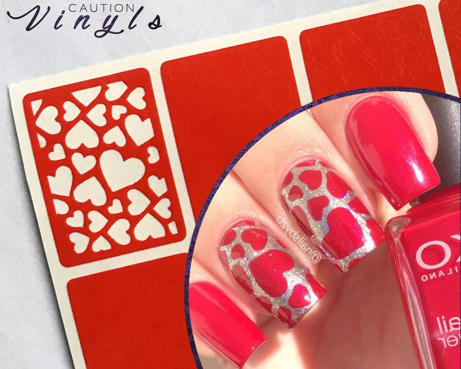 scattered hearts nail vinyl nail stencil for by cautionvinyls. Black Bedroom Furniture Sets. Home Design Ideas