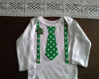 St. Patricks Day Onesie Leprechaun Baby Boy Tie Suspenders