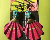 Upcycled DogfishHead  Pink 90 minute Beer Bottlecap Earrings shell shape with turquoise Skull bead and gold colored copper wire!