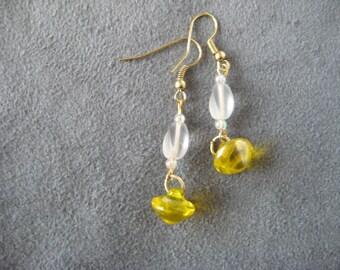 Earrings, yellow earrings, drop earrings, white bead earrings, casual earrings