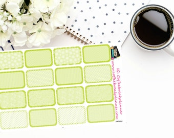 Planner Stickers |Lime Green Patterned Half Boxes|For use in a wide variety of planners and journals|MKB004
