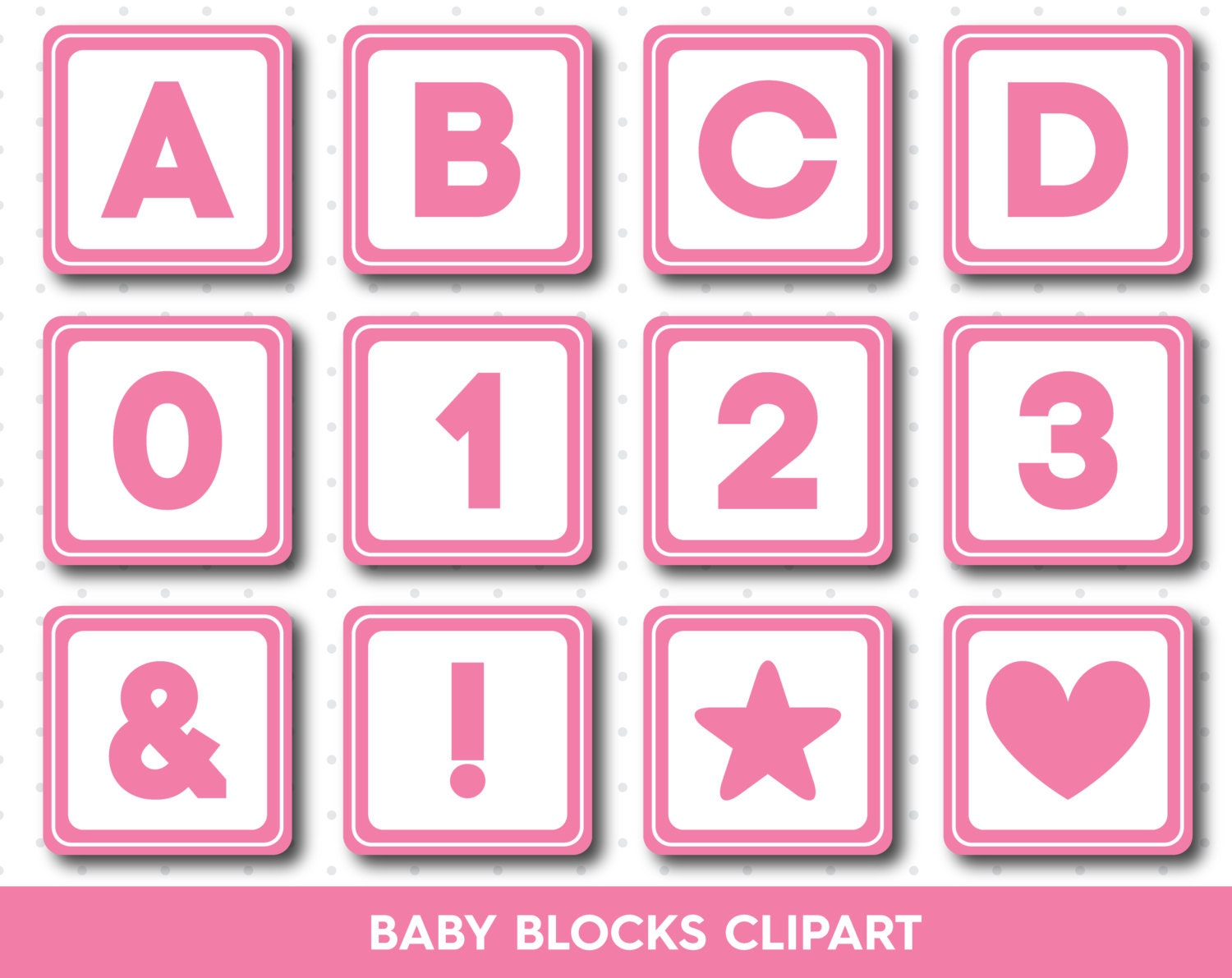 Pink Baby blocks clipart Alphabet Blocks clipart by ...