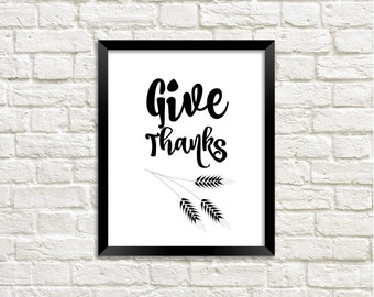 Give Thanks Quote Printable Art Print, Watercolor Fall Leaf, Autumn Leaf Print, Fall Printable, Home Decor, Download, Quote Print