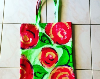 Eco friendly hand painted red rose tote bag FREE SHIPPING