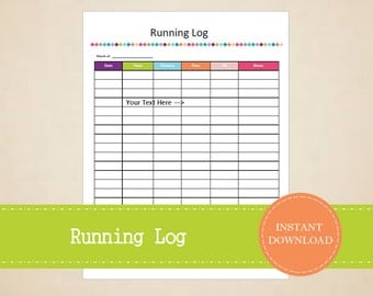 Running Log - Health and Fitness Printable - Fitness Tracker - Printable and Editable - INSTANT PDF DOWNLOAD