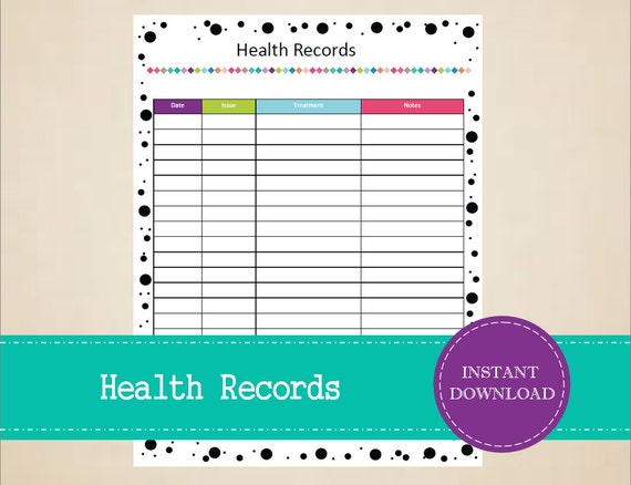 Health Records Printable Pet Care Kit Pet Care Information