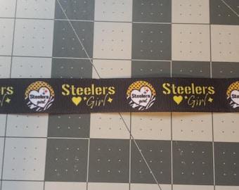 1 Yard Steeler's Girl grosgrain ribbon