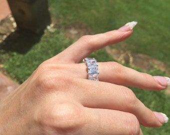 Sterling silver, white gold, cubic zirconia ring