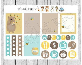 Weekly sticker set - honey thief - bear and bees - planner stickers