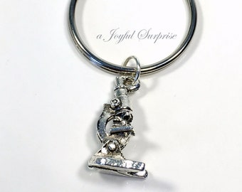 Microscope Keychain, Gift for Lab Technician, Silver Research Keyring, Science Key Chain Tech Science teacher Researcher Geek purse charm