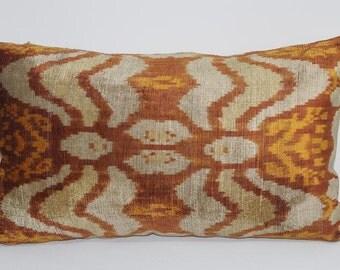 İkat Velvet Pillow Cover, 14'' x 23.5'' , Decorative Pillow, Handmade Silk Pillow, İkat Lumbar Pillow,  Shipping with Fedex 1-3 days