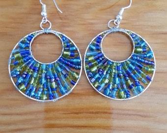 Blue And Green Dangle Glass Seed Bead Earrings, Round Earrings.