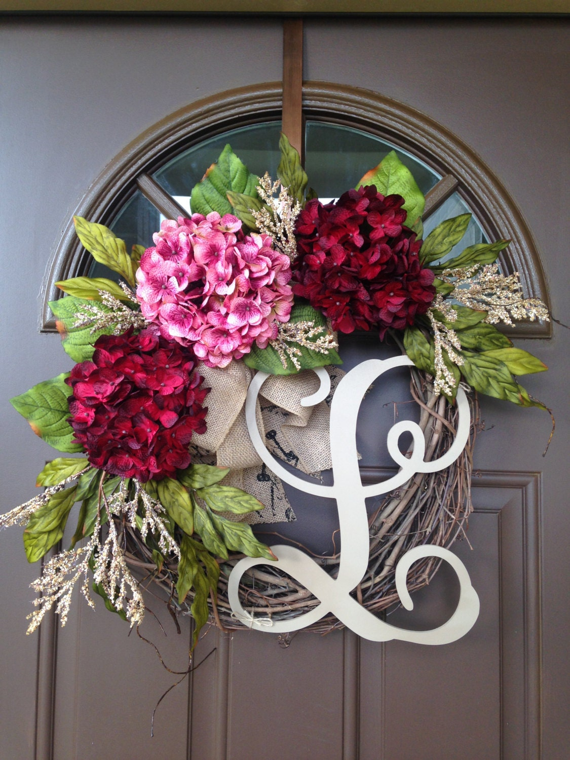 Wreath grapevine initial wreath front door decor by flowenka for 3 wreath door decoration