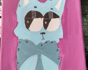 "Original Canvas Cat Painting Pink 8"" x 10"""