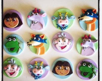 12 x Dora the Explorer Edible Fondant Cupcake Toppers - Dora, Boots, swiper, isa, benny and tico