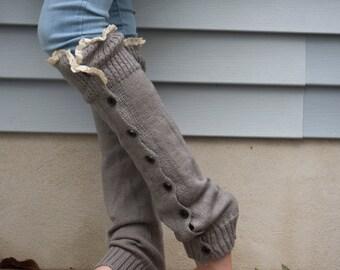 Women Leg warmers, boot socks, leg warmers with lace, lacy leg warmers, knit leg warmers, boot cuffs, legwarmers, knee high socks