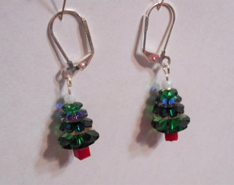 Dangling Swarovski crystal Christmas tree earrings