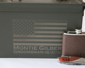 Groomsmen Gift Box, Groomsmen Accessories, Personalized Ammo Box, Personalized Tactical Knife, Wedding Gift