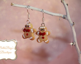 Sweet Gingerbread Man Earrings made from Polymer Clay