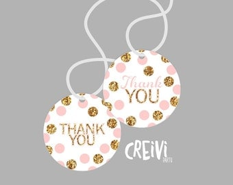 Instant Download Pink and Gold Glitter Girl baby shower, Favor tags, Thank You Tags  DIY, Printable ( GL007)