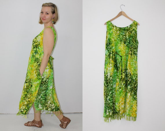 vintage green rayon sundress