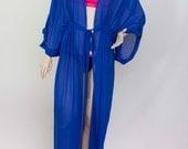 Chiffon  kimono Kaftan dressin royal blue, light weight elegant beach cover up,women's beach kaftan dress