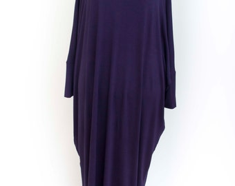 Abaya casual dress butterfly sleeves  evening dress casual maxi long sleeve loose  , purple