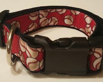 dog collar, red baseballs, baseball, baseball dog collar, baseball collar