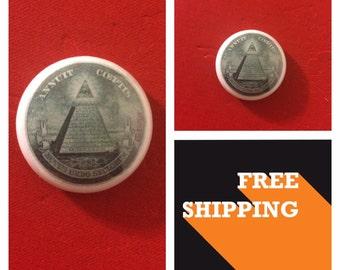 Illuminati Dollar Bill Pyramid Button Pin, FREE SHIPPING & Coupon Codes
