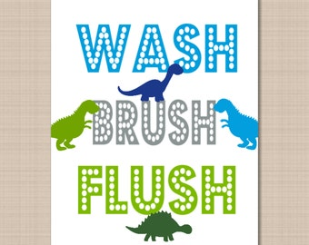 Dinosaur Bathroom Wall Art,Dinosaur Kids Bathroom Wall Art,Boy Bathroom Wall Art,Dinosaur Bathroom Dino Park Bathroom-8x10 UNFRAMED  B114