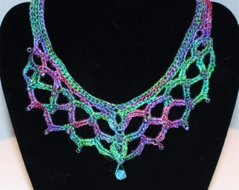 Green and purple crochet bib necklace – Beaded necklace – Handmade crochet necklace – crochet jewelry – statement necklace - lace necklace