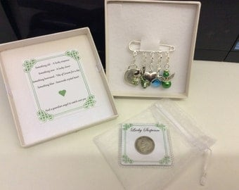Irish Groom, charm pin, wedding gift. Something old, something new something borrowed something blue & a silver sixpence for your shoe