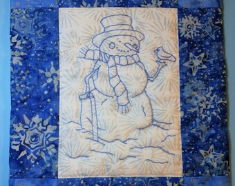 Blue Work Hand-Embroidered Snowman Wall Hanging