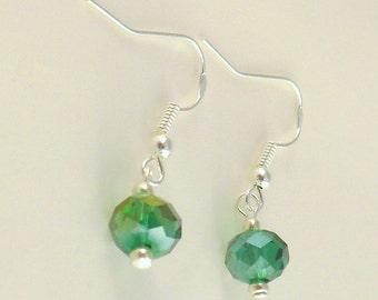 Green Crystal Earrings - Green Dangle Earrings - Green Drop Earrings