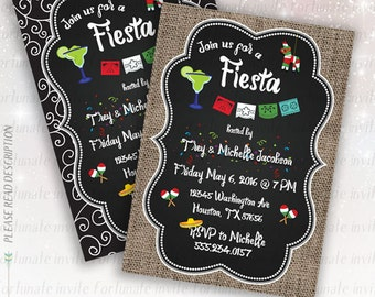 fiesta invitation printable, fiesta party invitations, fiesta invites adults, party invites cinco de mayo invitation digital printed