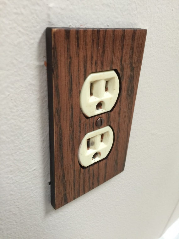 Rustic red oak outlet cover