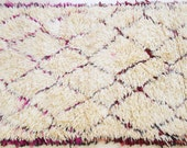 VINTAGE AZILAL RUNNER - Pink - Small Moroccan Rug Handmade Carpet with Pink, Purple and Red Details - Beni Ourain/Beni Ouarain