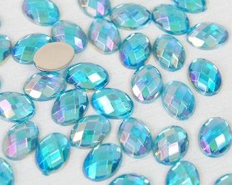 Blue AB - Oval Shape - Acrylic Flatback Rhinestones Cabochons Deco Scrapbooking Nail Craft - Iridescent - 200pcs/ 1000pcs per pack