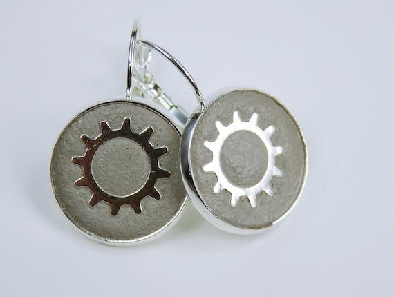 Earring Gears Steampunk gear concrete jewelry on silver earrings closed unique pair of earrings concrete jewelry Vintage