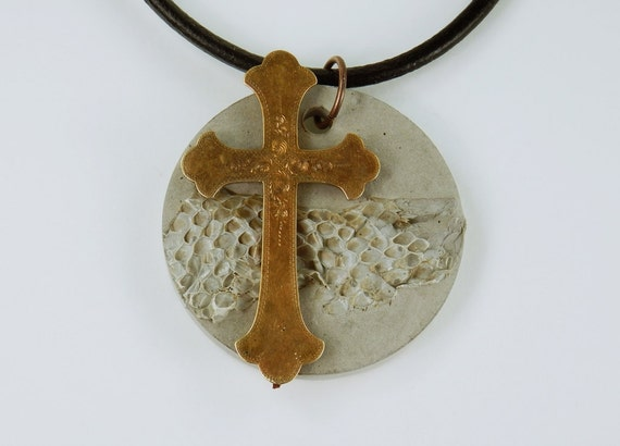 Concrete Cross Necklace Faith Christ with snake skin optics concrete jewelry on black leather ribbon concrete jewelry snake bronze colored cross