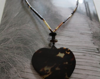 Large heart shaped lucite necklace - Victorian - Tortoise Shell - vintage - turtle shell- antique