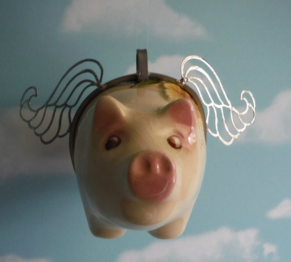Flying Pig When Pigs Fly Vintage Piggy Bank